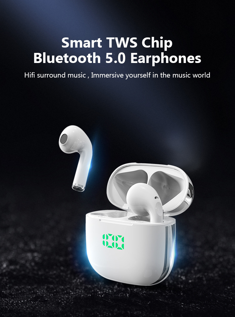 TWS Bluetooth Earphones Wireless Headphones Battery Display 9D Stereo 5.0 Earbuds Microphone Headsets For Iphone Xiaomi Huawei