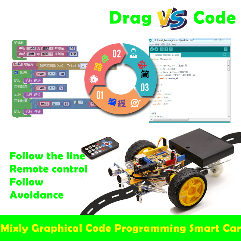 Cheapest Graphical Programming Smart Car Mixly Kit Stem Maker Teaching Aid Compatible With Arduino Robot Diy Toy Parts