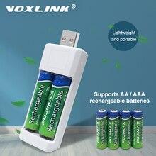 VOXLINK USB pil şarj cihazı 2 yuvaları AA/AAA şarj edilebilir piller şarj cihazı uzaktan kumanda mikrofon kamera dijital fare