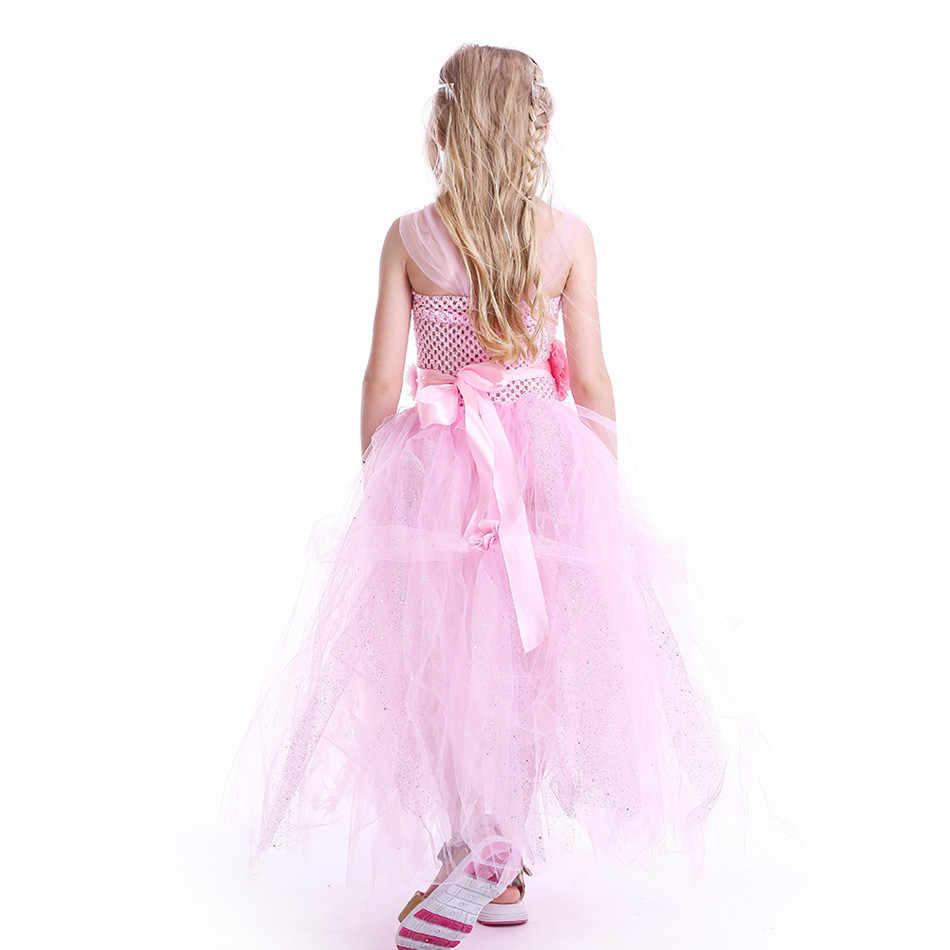 الوردي زهرة الفتيات توتو اللباس الترتر تول الكرة ثوب الاطفال فتاة الأداء فساتين فاخرة هالوين زي الزفاف حزب Vestido