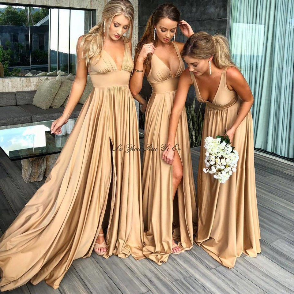 Golden Satin Bridesmaid Dresses For Women's Wedding V-neck Wedding Guest Dress Lady Honor High Split A-line Party Gown Cheap
