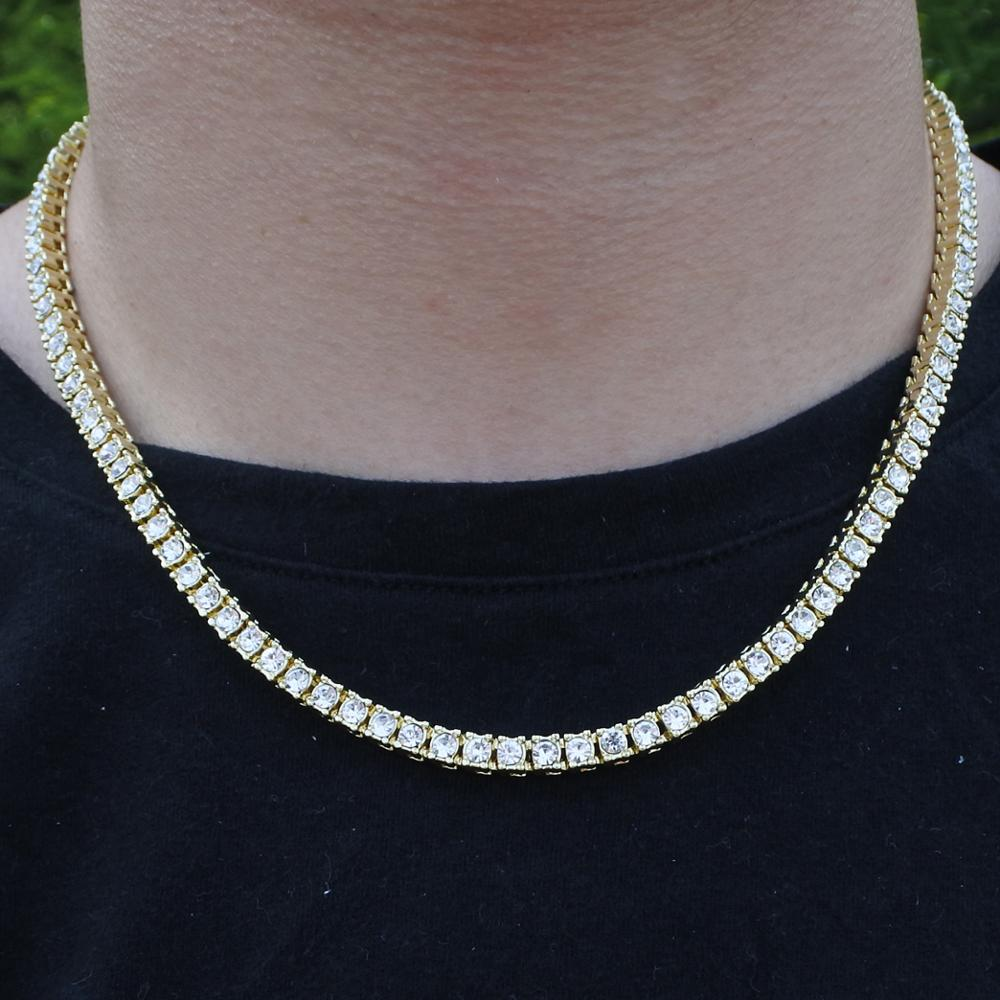 5mm men s necklace hiphop 1 row chain tennis bracelets rapper jewelry bling iced out gold