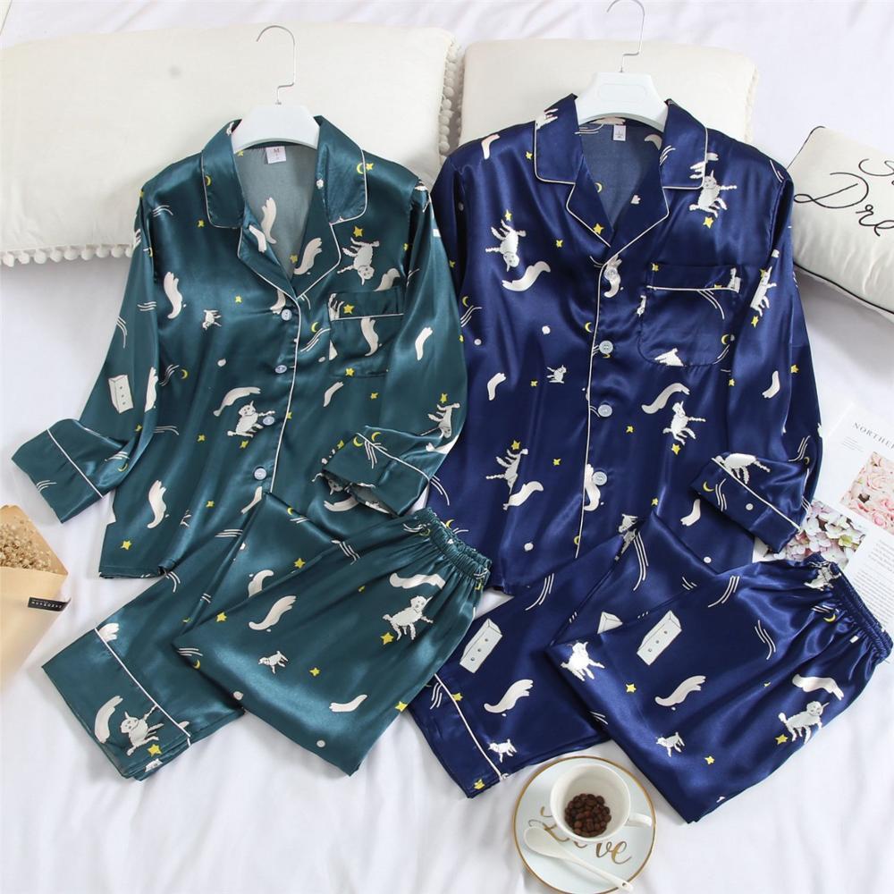 Couple Spring Pajama Set Long Sleeve Plus Size 3XL Pajamas Sets Silk Satin Pijama Sleepwear Pyjamas Nightwear Homewear