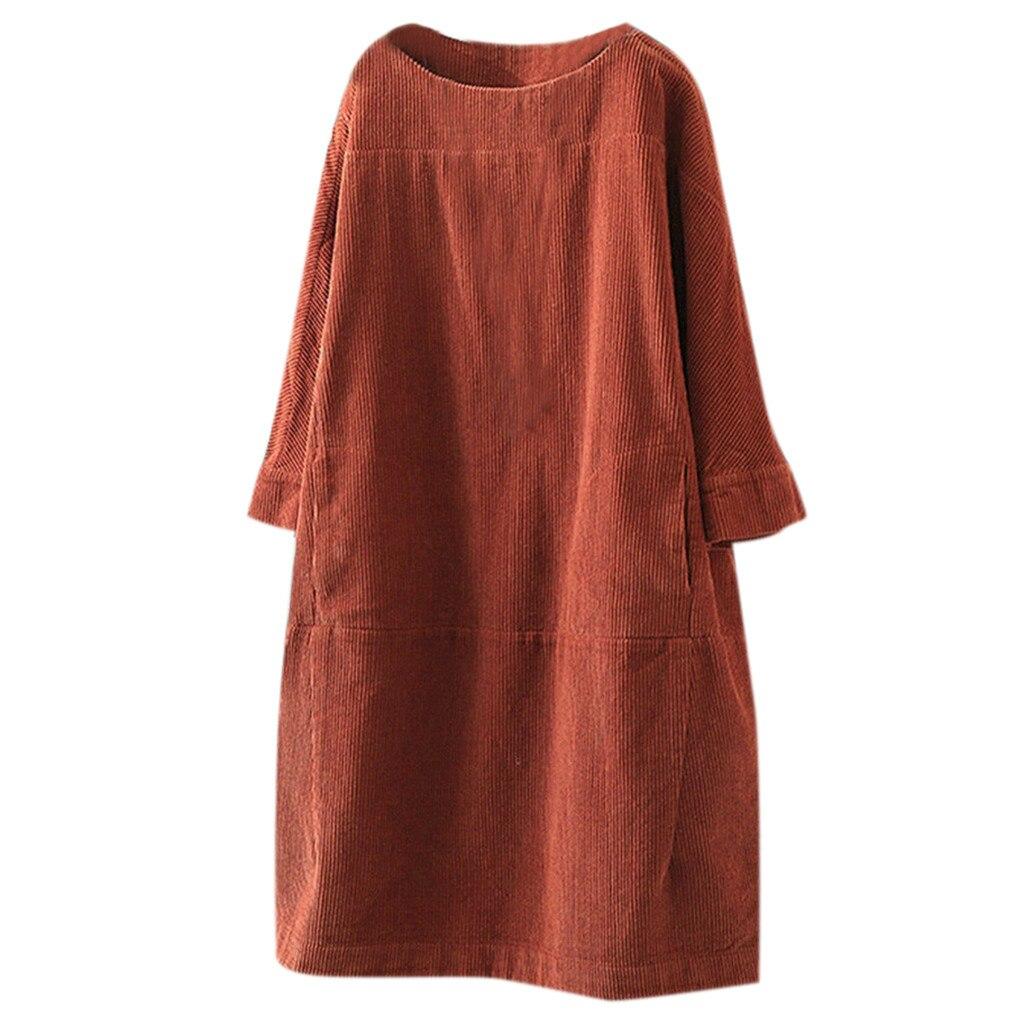 Feminino vintage bolsos veludo cor sólida manga comprida solto vestido casual vestido de sol elegante simples se alta qualidade