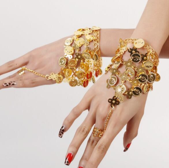 Women Belly Dance Wear Bollywood Jewelry For Dancing Bracelets 1 Pair Jewelry Set Indian Jewelry Accessories