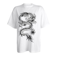 Heyoungirl casual solto oversized t camisa senhoras dragão impresso camisetas de manga curta camiseta streetwear feminino preto