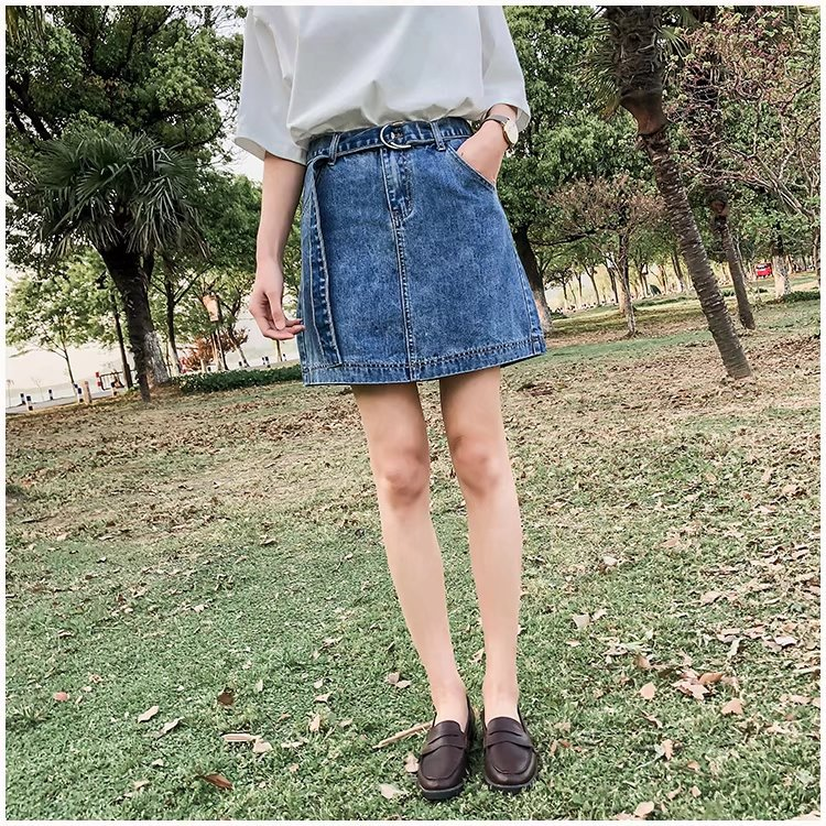 2018 Summer High Waist Skirt Retro Versatile Of Belt Slimming College Style Denim Skirt Women's Korean-style S8570