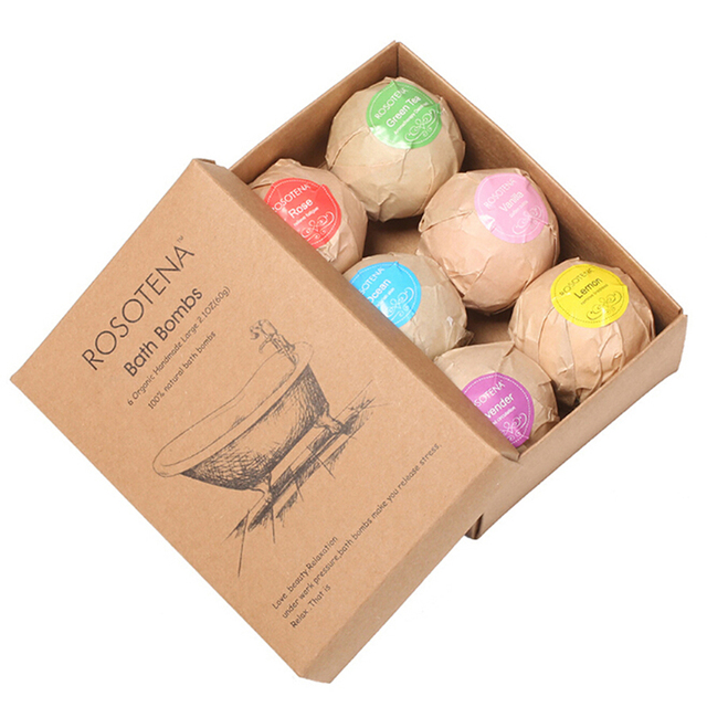 60g 6pcs Organic Bath Salt Body Essential Bath Ball Body Skin Whitening Ease Relax Stress Relief Natural Bubble Bath Bombs Ball 1