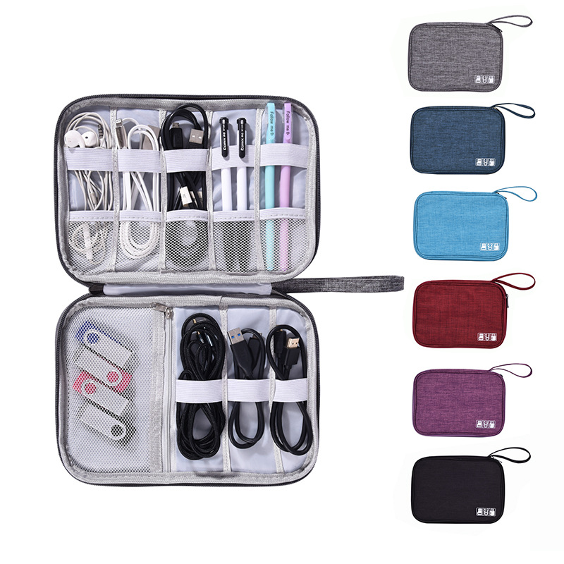 Nylon Hard Disk bag Accessories Carry Bag Gadget Bag Travel Cable Case Electronics organizer for Chargers Cables Powerbank