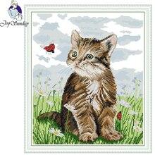 Joy Sunday,Cat,Chinese cross stitch embroidery set,cross pattern,cross needlework,Animal pattern kit