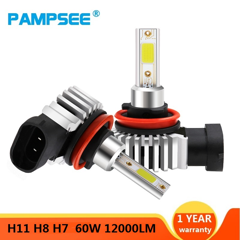 2pcs 60W 12000LM Car LED Headlight Bulbs H11 9006 HB4 9005 HB3 H4 H7 H8 H9 H1 Mini Headlight Kit for High/Beam Bulb fog Light 1