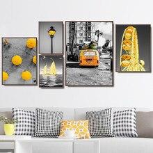 Norte da europa decoração de casa cartaz e cópias parede fotos para sala de estar arte da parede pintura da lona cidade carro amarelo