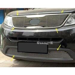 Dla Kia Sorento 2013 2014 detektor samochodów metalowe nadwozie licencja listwa wykończeniowa wyścigi siatki Grill Grille okapy rama panelu części formujące