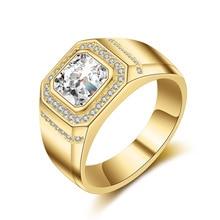 14k Yellow Gold Rectangle Cut Diamond Ring For Men Luxury White Gold Full Inlaid AAA Zircon Simulation diamond Ring Fine Jewelry
