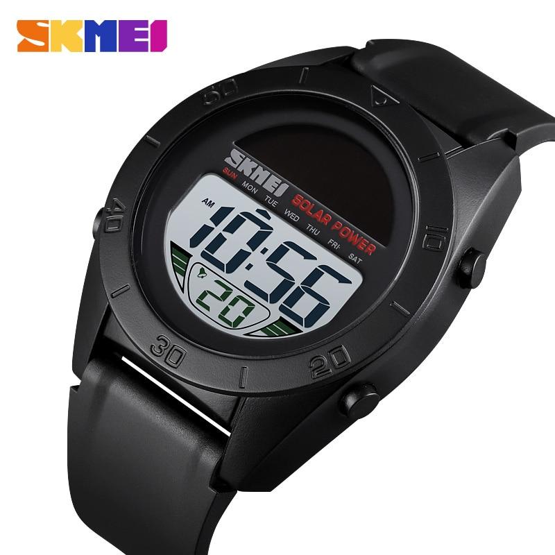 SKMEI Fashion Sports Watch Multi-Function  Solar Power Watch Alarm Clock 50M Waterproof PU Strap Digital Watch Reloj Hombre 1592