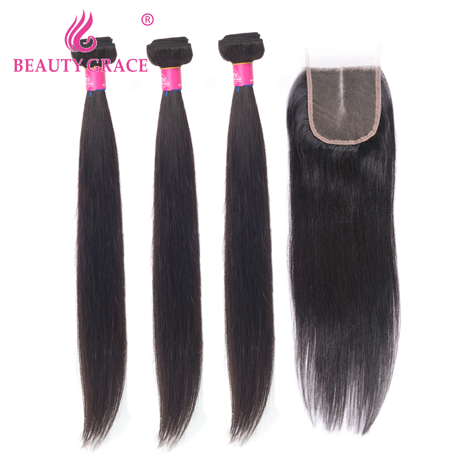 Beauty Grace Straight Hair Bundles With Closure Remy Brazilian Hair Weave Bundles 8-26 Inches Human Hair 3 Bundles With Closure