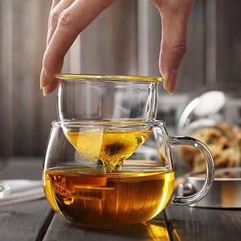 Ręcznie dmuchane szkło odporne na ciepło kubek do herbaty z pokrywką i zaparzaczem 300ml szkło borokrzemianowe kubek do herbaty innowacyjna butelka na herbatę z filtrem tanie i dobre opinie CN (pochodzenie) ROUND Przezroczysty Ekologiczne Na stanie b003