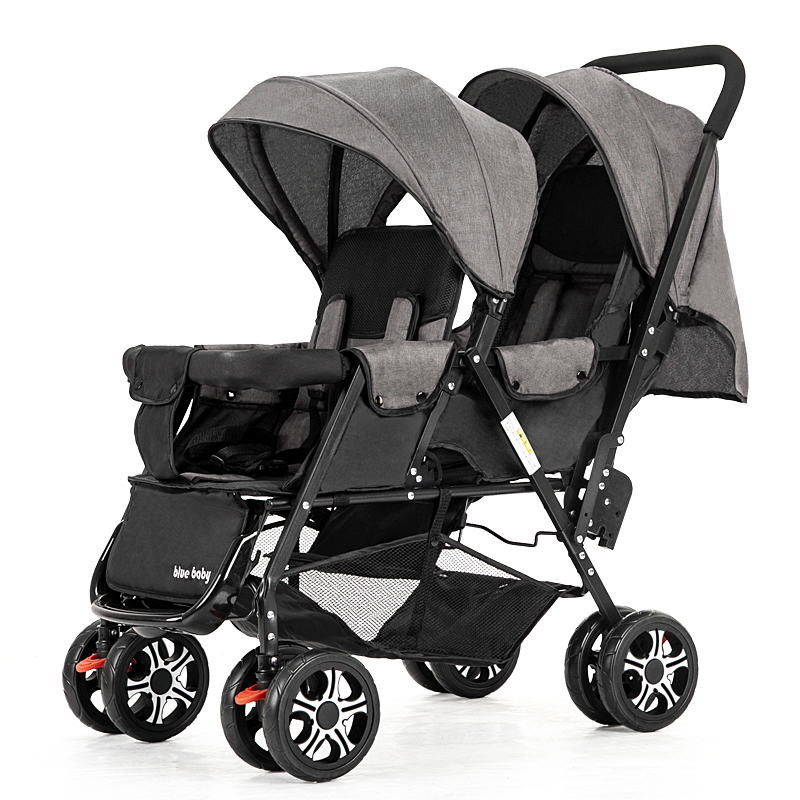 Genuine Twin Baby Trolley Front And Rear Stroller Light Folding Double-seat Trolley Can Lie Down