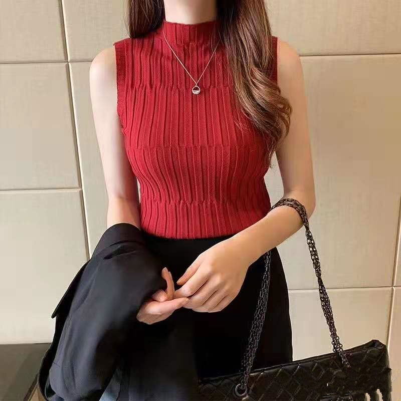 HELIAR Women Knitted Crop Tops Female Skinny Tank Tops Ladies O-neck Sexy Female Cottons Sleveless Tops Women 2021 Summer 4