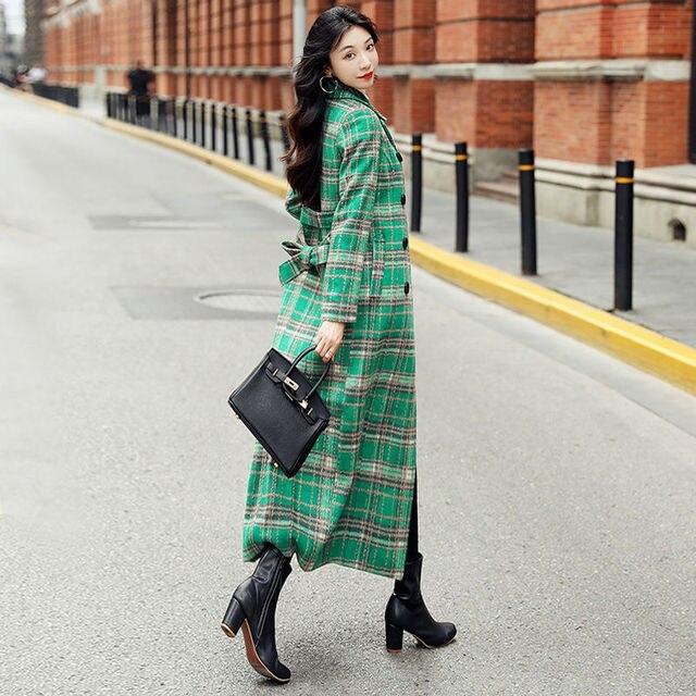 Фото женское длинное пальто с отложным воротником элегантное зеленое цена