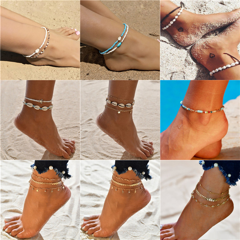 19 Style Ankelts For Women Girl Summer Jewelry Natural Shell Beads Anklet Hot Sale Gold Color Link Chain Ankle Bracelet Dropship