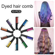 10 шт., одноразовая краска для волос, мини-расческа для волос, Временный Мел для волос, набор для окрашивания волос с расческой, для личного салонного использования, краска для волос