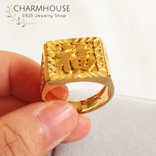 Charmhouse Wedding Rings For Men Pure Yellow Gold Color GP Big Square Blessing Finger Ring High Quality Engagement Bague Anel