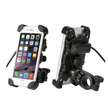 Electric Scooter Cell Phone Holder Motorcycle Handlebar Mount Universal Grip Holder with USB Charger for 3.5 6.5 inch Devices