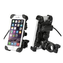 Soporte Universal para manillar de motocicleta, para teléfono móvil, Scooter eléctrico, con cargador USB, para dispositivos de 3,5 6,5 pulgadas