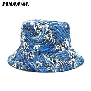 FUODRAO estampado Original sombrero de cubo Reversible mujeres Panamá algodón de Primavera al aire libre para el sol hombre sombrero de Bob sombrero de pescador M108