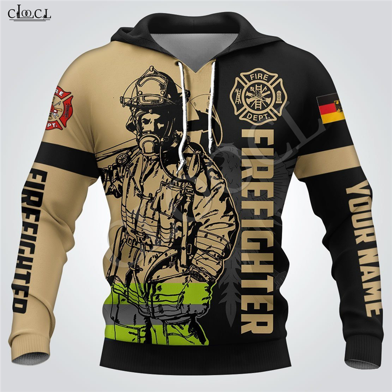 2020 New Style Men Women Firefighter Print Hoodie 3D Hooded Sweatshirt Fireman Long Sleeve Homme Clothes Pullovers Zipper Coat