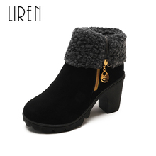 Liren 2019 Winter Women Cow Suede Fashion Sexy Ankle Zip Boots Keep Warm Comfortable Round Toe Med Square Heels Lady