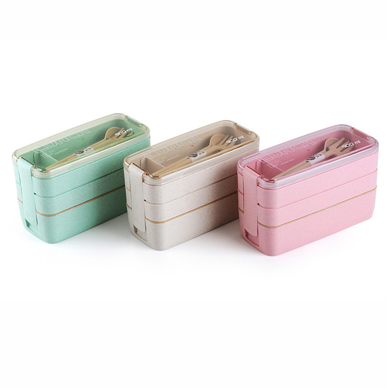 900ml 3 Layers Lunch Box 600ml Soup Box Bento Food Container Eco-Friendly Wheat Straw Material Microwavable Dinnerware Lunchbox