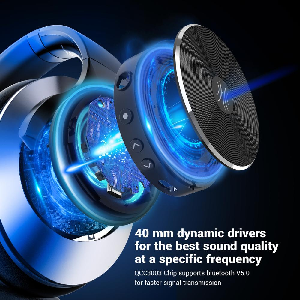 cheapest Oneodio A10 Active Noise Cancelling Wireless Bluetooth Headphones 40Hrs Bluetooth 5 0 Headset With Microphone Fast Charging AAC
