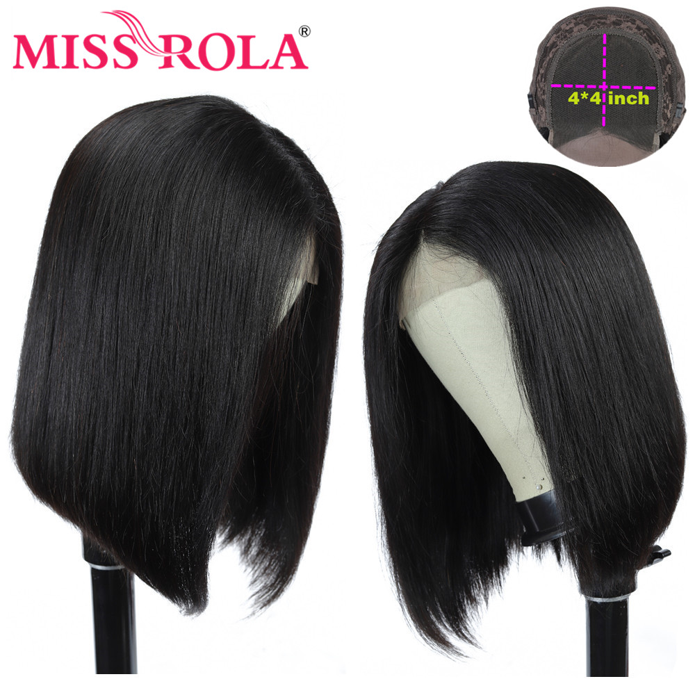 Miss Rola 4*4 Lace Closure Short Bob Human Hair Wigs Remy Peruvian Hair Pre-Plucked Wigs For Black Women 150 Density 8-16 Inch