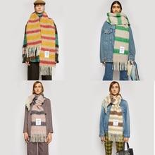 2020 NEW ACNE quality foulard Winter Cashmere Scarf Women Thick Warm Shawls Wraps Lady Solid Scarves Fashion Tassels Pashmina