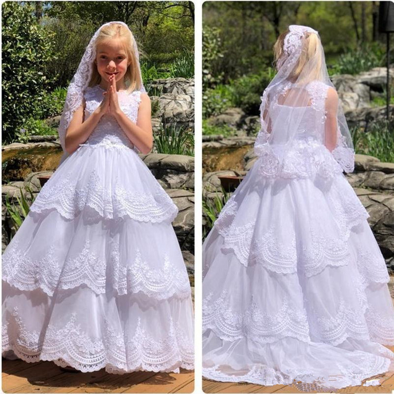 Long Flower Girl Dresses White Hand Made Kids First Communion Dresses Floor Length Beaded Appliques Kids Party Gowns