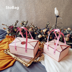 StoBag 5pcs Cake Boxes Wedding Birthday Chocolate Gift Box Baking Bread Biscuit Candy Baby Shower Decoration Dessert Packaging