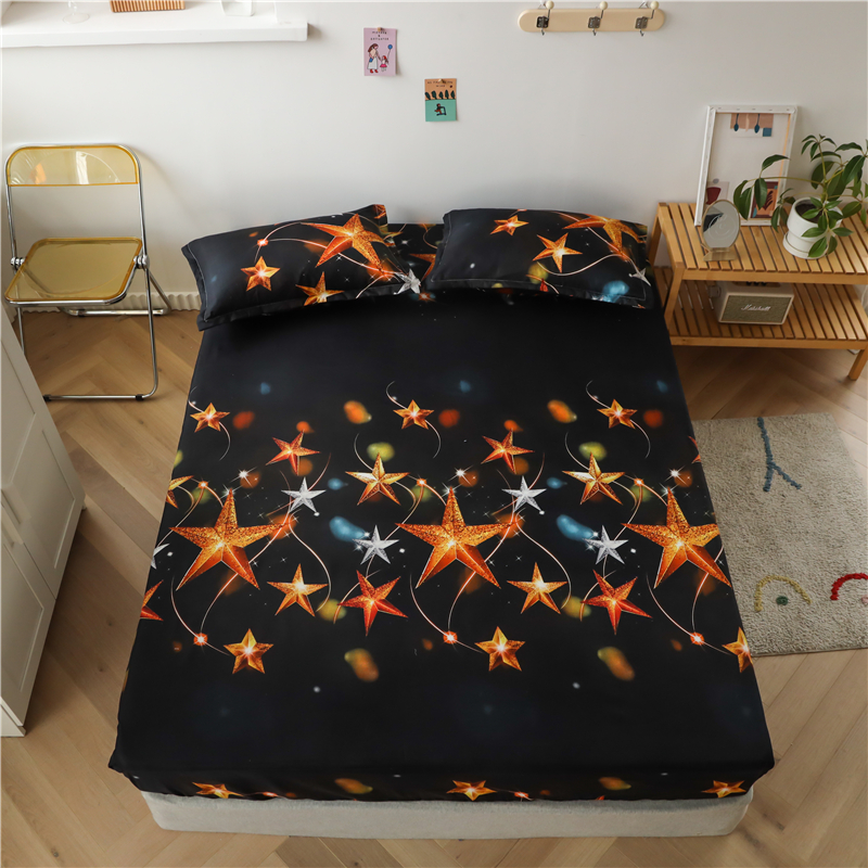Bonenjoy 3 pcs Fitted Bed Sheets Single drap de lit Geometric Pattern Stitching Mattress Cover with elastic For Double Bed Sheet 8