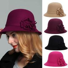 Осенне-зимние женские шерстяные шляпы, винтажные фетровые шляпы для женщин и девушек с плоским верхом, джазовые шляпы, церковные Шляпы, панамы
