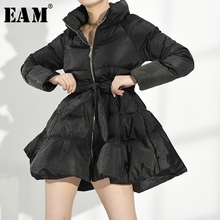 [EAM]  Black Keep Warm Cotton-padded Coat Long Sleeve Loose Fit Women Parkas Fashion Tide New Autumn Winter 2021 WC69101