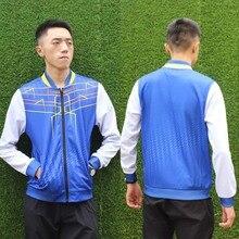 Модная индивидуальная футболка для бадминтона на молнии яркого цвета, теннисная куртка с длинными рукавами