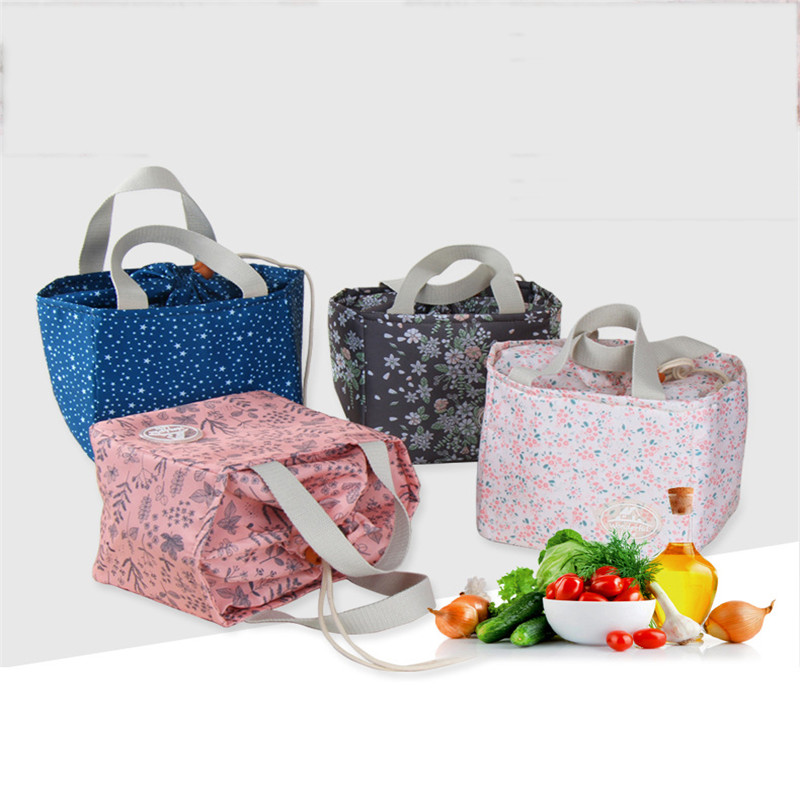Lunch Box Insulation Bag Printing Floral Thermal Lunch Bag For Women Portable Carry Tote Bolsa Termica Para Marmita