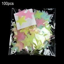 100PCS 3CM Luminous Star Wall Sticker Luminous Fluorescent 3D Kids Bedroom Ceiling Home Dark Place Star Wall Stickers(China)