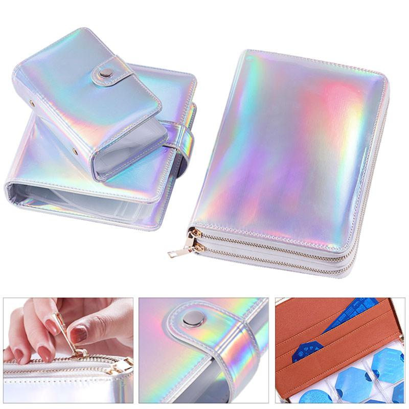 Nail Art Stamping Plate Case PU Leather Holographic Laser Rectangle Manicure Template Bags Card Bag Organizer