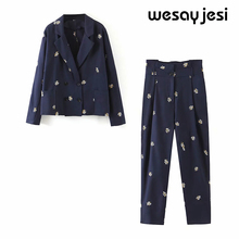 2020 Summer women's suit sets england style office lady soli