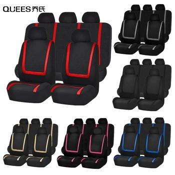 QUEES 2 4 9pcs tkanina na pokrowce na siedzenia pokrowce samochodowe do salonu cały sezon Seat pokrywa ochronna uniwersalne akcesoria do wnętrza samochodu tanie i dobre opinie Cztery pory roku Polyester CN (pochodzenie) Pokrowce i podpory 2pcs 4pcs 9pcs Red Gray Beige Pink Blue Black Fabric