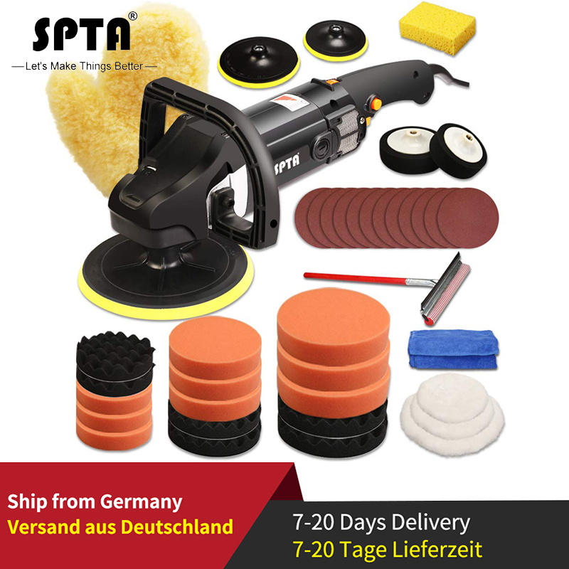 SPTA 7 Inch Auto Polishing Machine  With Variable Speed Professional Set Car Buffing Polisher Polishing Sponge Accessory Set
