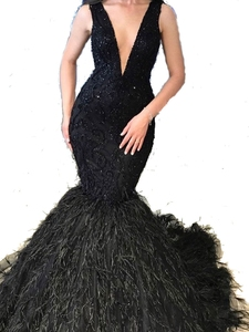Image 2 - Black Evening Dresses Mermaid With Deep V Neck Sleeveless Floor Length Big Size for Women Formal Prom Gowns