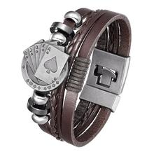 2020 Men's Vintage Playing Cards, Lucky Vintage Leather Bracelet Raja Vegas Glamour Multilayer Woven Ladies, Pulseira Masculina